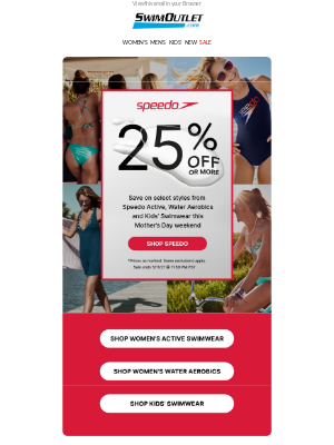 SwimOutlet - 25% OFF 🩱👙 select styles from Speedo