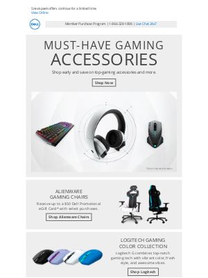 Dell - Early savings on a variety of accessories and gaming electronics.