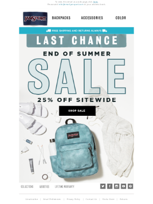 JanSport - Last chance, 25% off sitewide