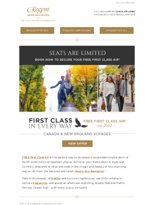 Regent Seven Seas Cruises - Enjoy FREE First Class Air to Your Canada & New England Voyage