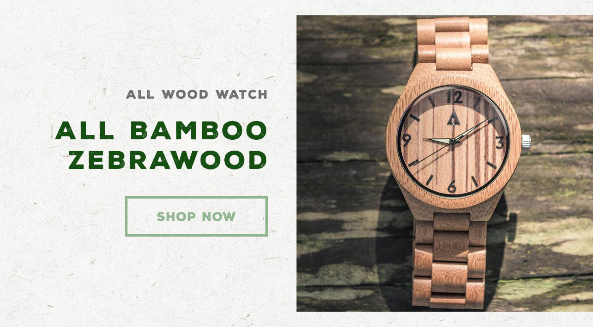 All Wood Watch - All Bamboo Zebrawood