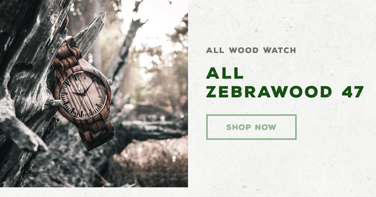 All Wood Watch - All Zebrawood 47