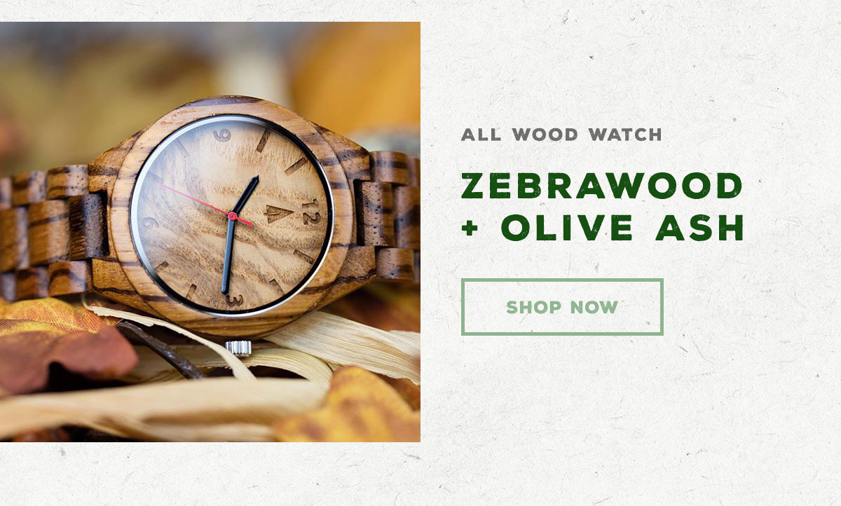 All Wood Watch - Zebrawood + Olive Ash