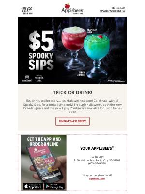 Applebee's - Scream! $5 Spooky Sips are here!