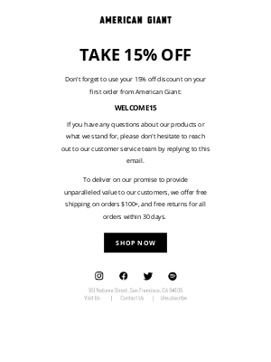 American Giant - Don't forget to use your 15% off