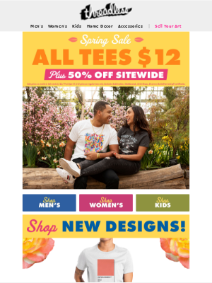 Save with $12 tees and 50% off sitewide!