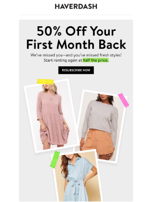 Haverdash - Last chance: 50% off your first month back