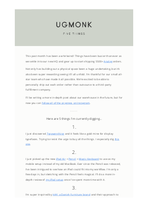 Ugmonk - 5 things I'm digging – October edition