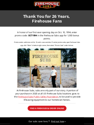 Firehouse Subs - Thank You For 26 Years!