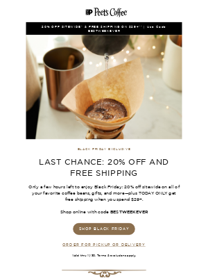 Peet's Coffee - Only a few hours left for FREE SHIPPING