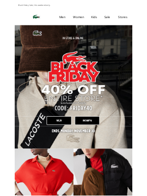 Lacoste - 40% Off Sitewide   Including Masks