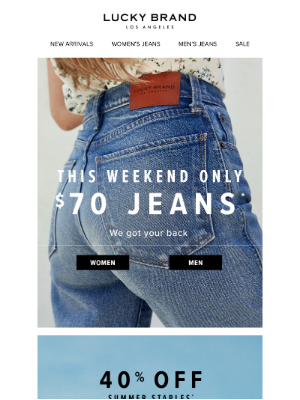 This Weekend Only - $70 Denim!