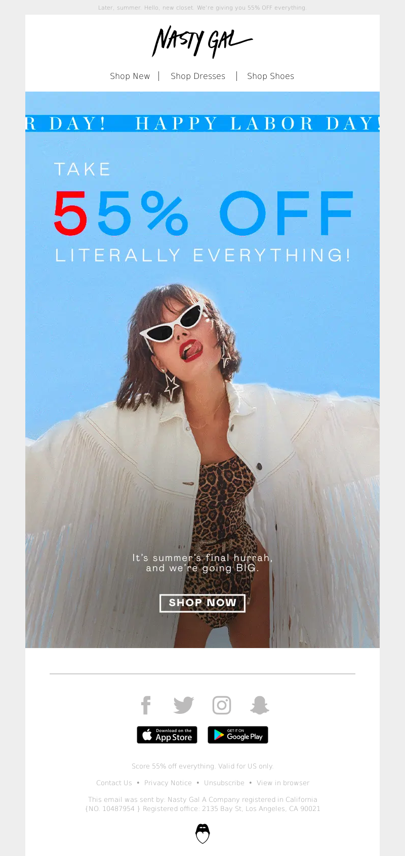 Nasty Gal - Oh Hi, Labor Day