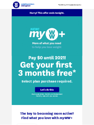 Weight Watchers - Don't miss out!🏃♀️ 3 months free ends tonight 🏃♀️