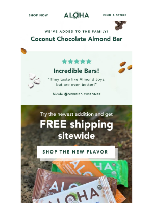 ALOHA - 🥥   FREE SHIPPING Site-Wide + Try the New Coconut Chocolate Almond Bar 🌴