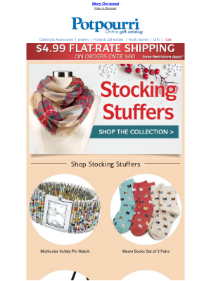 Potpourri Online Catalog - Socks Make Great Stocking Stuffers ~ Merry Christmas