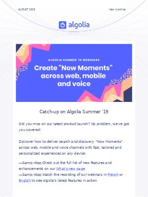 Algolia Digest - August 2019