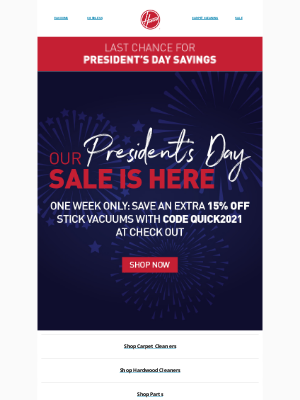 Hoover - Last Chance For President's Day Savings