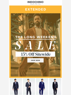 INDOCHINO - 15% off sitewide...extended