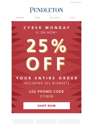 Pendleton Woolen Mills - 25% off your entire order