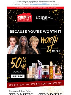 Chemist Warehouse Australia - L'Oreal Paris - 50% off Cosmetics, Skincare & Haircare!