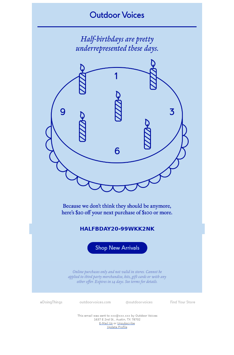 Creative birthday email example sent on a half-birthday