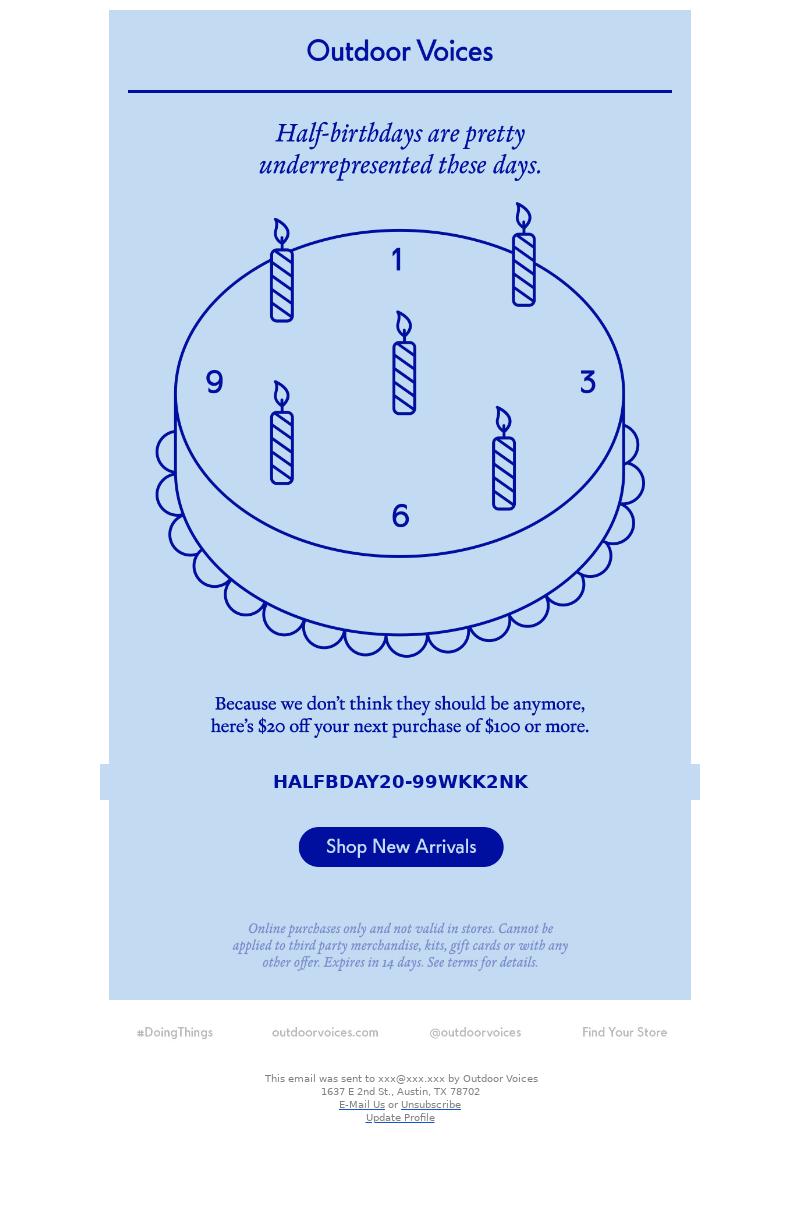 Creative birthday email example sent on a half-birthday
