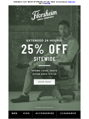 Florsheim Shoes - Extended 24 hours! Last call for 25% off sitewide