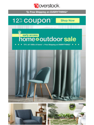 Overstock - 12% off Coupon + Spring Home & Outdoor Sale = The Serene Space You've Always Dreamed Of!