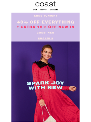 Coast Stores (UK) - Ends Midnight: Extra 15% off NEW