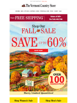 Vermont Country Store - FALL SALE Don't Miss Out!
