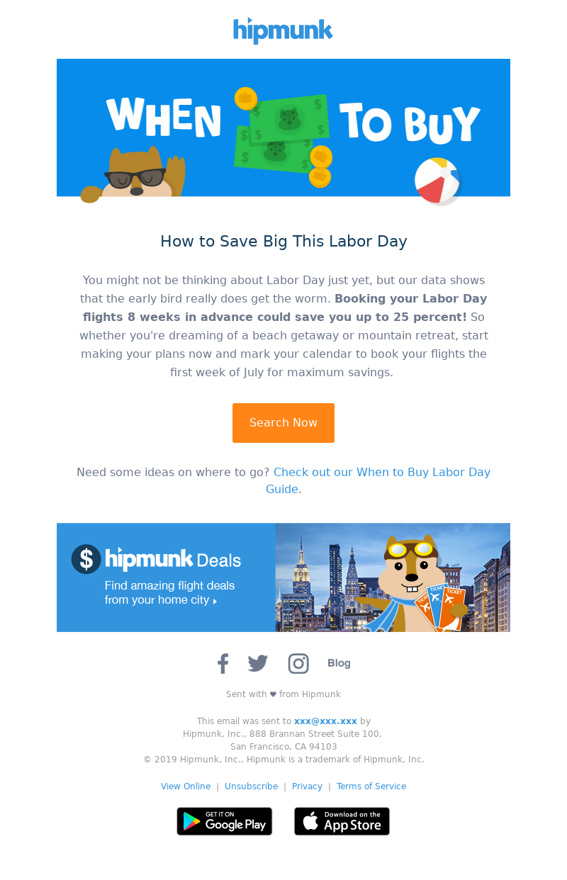 Labor day email from Hipmunk