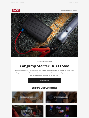ZAGG - Buy One, Get One FREE on Select Car Jump Starters Ends Tonight!
