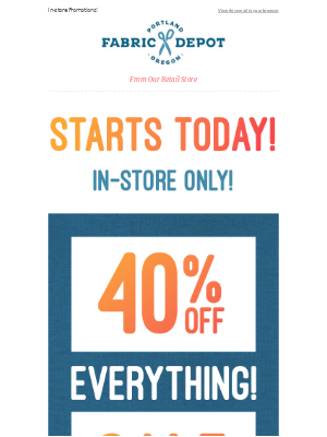 40% Off Everything Flash Sale