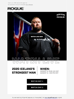 Rogue Fitness - Watch Live Now - 2020 Iceland's Strongest Man!