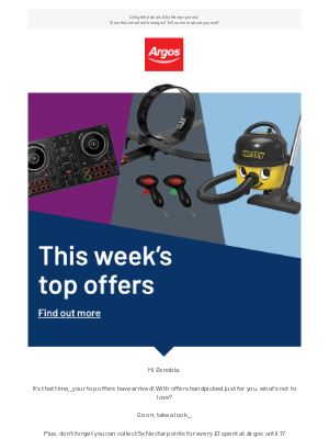 Argos (UK) - Zenobia, check out your top offers from Argos!