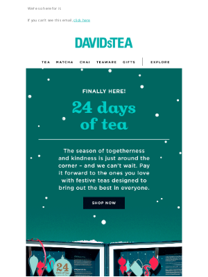 DAVIDsTEA - See what's inside our NEW 24 DAYS OF TEA calendar 💚❤️