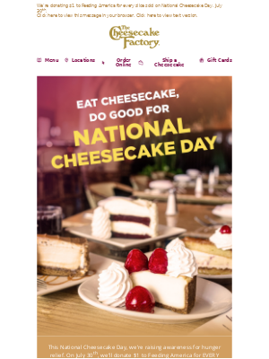 The Cheesecake Factory - Eat Cheesecake, Do Good