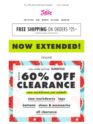 NOW EXTENDED! Extra 60% off clearance + $6 tanks!