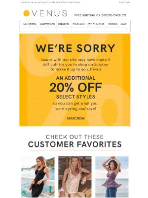 VENUS Fashion - Oops! We're Sorry.