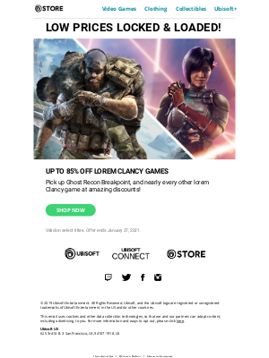 Ubisoft - Initiate Operation lorem Clancy! Up to 85% off