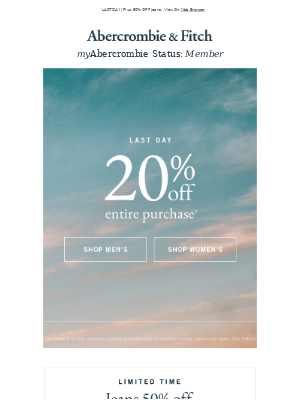 FINAL HOURS | 20% OFF your purchase