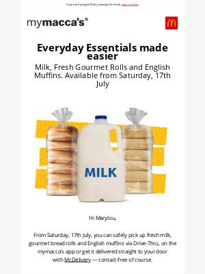 McDonalds Australia - Fresh milk and bread from Sat 17th July at Macca's