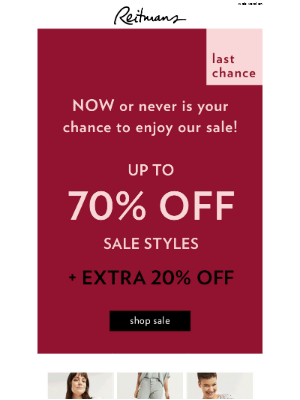 This is your chance! Up to 70% off sale styles