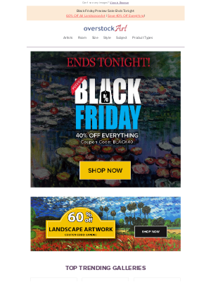overstockArt - FINAL HOURS: Black Friday Preview Sale Ends Tonight - Don't Miss It! Quantities are Limited.
