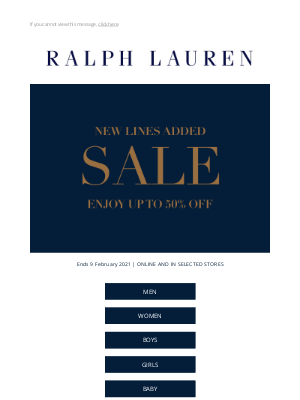 Ralph Lauren (UK) - New Lines Added in Our Sale