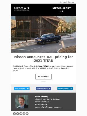 Nissan - Nissan announces U.S. pricing for 2021 TITAN