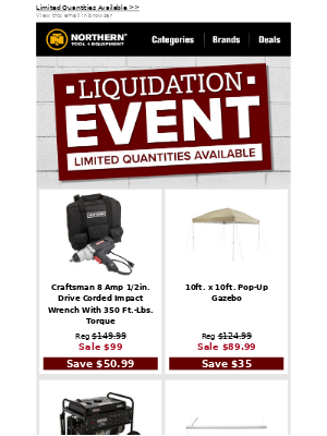 Product Liquidation: Limited Quantities Available!