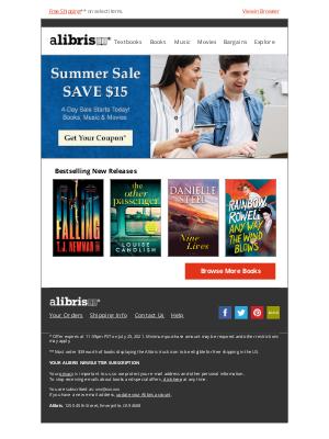 Alibris - Summer Sale | Save $15 through Sunday, friend