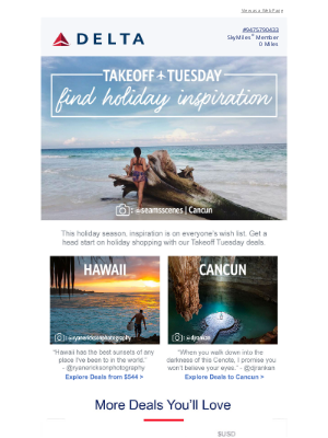 Delta Air Lines - Takeoff Tuesday: Deals To Inspire
